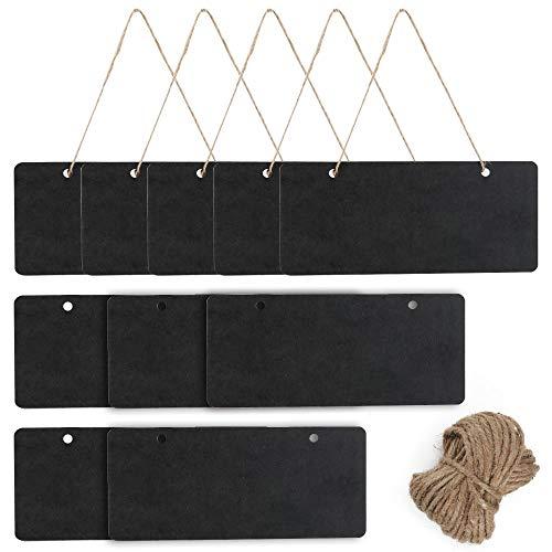 AILANDA 10ST Mini Tafeln Kleine Kreidetafel zum Aufhängen Schiefertafel zum Beschriften Memotafel mit Schnur Holz Tafel Schwarz für Hochzeit Buffet Küche Wand Deko 18.3 x 8cm