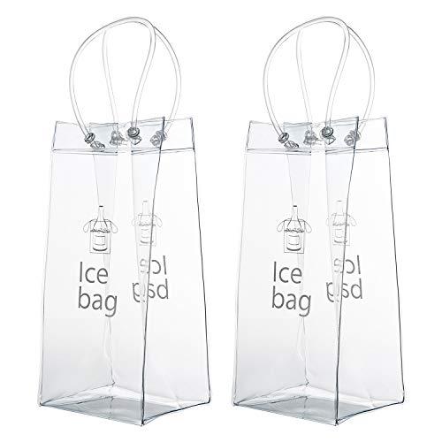 Vordas 2 Stück Transparente Flaschenkühler Eistasche Kühltasche mit Griff für Champagner Wein Getränke