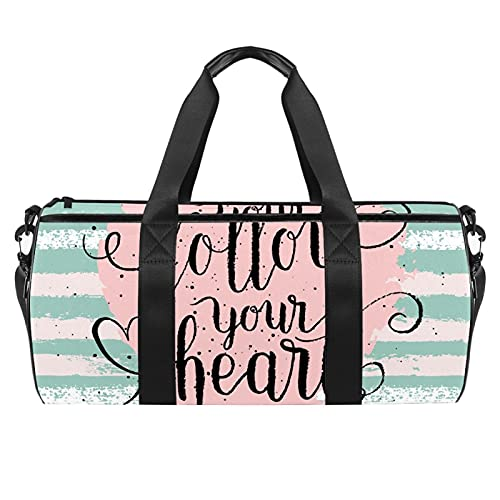 Follow Your Heart Love With Stripe Gym Bag para hombres y mujeres Bolsas de fin de semana Deportes Viaje Duffel Bag con bolsillo impermeable