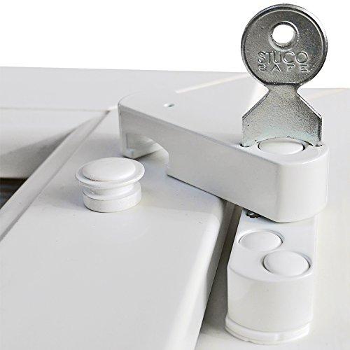 2 x Bever Stuco Safe, zertifizierte Fenstersicherung mit Pilzkopf für erhöhte Sicherheit weiß, 22SW