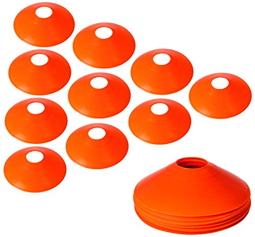 10Pcs Pro Disc Cones Training Cones Agility Soccer Cones with Carry Bag for Training Soccer Football Basketball Kids and Other Sports and Games (Orange Thickened Version 24g)