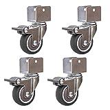 4 ruedas para muebles con soporte en forma de U, WSNDG con tornillos para ruedas de servicio pesado Ruedas giratorias Ruedas de goma, para pisos duros/parquet/o piso de piedra (25mm / 1in)