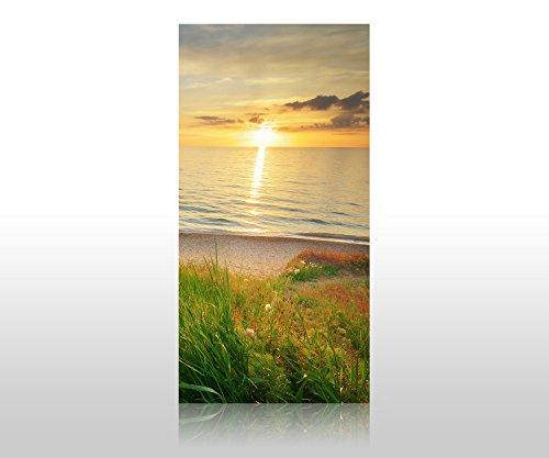 wandmotiv24 Duschrückwand Sonnenuntergang an der Küste 100 x 200cm (B x H) - Acrylglas 4mm Duschwand Design, Wanddeko für Dusche & Bad, Fliesen-Abdeckung, Deko-Set Duschkabine M0913