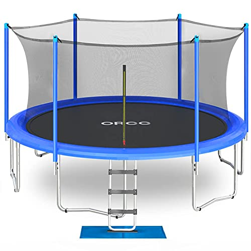 ORCC New Upgrade Trampoline with Safety Enclosure Net Wind Stakes Rain Cover Ladder, 15 14 12 10 FT Outdoor Trampoline for Kids Adults, Backyard Trampoline (15ft)