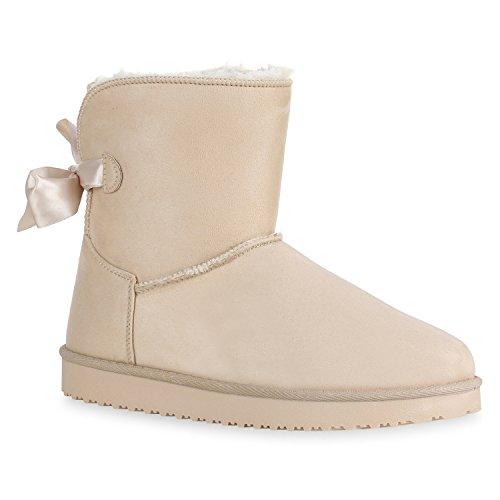 Warm Gefütterte Damen Schuhe Stiefeletten Schlupfstiefel Boots Schleifen 128600 Creme Berkley 39 Flandell