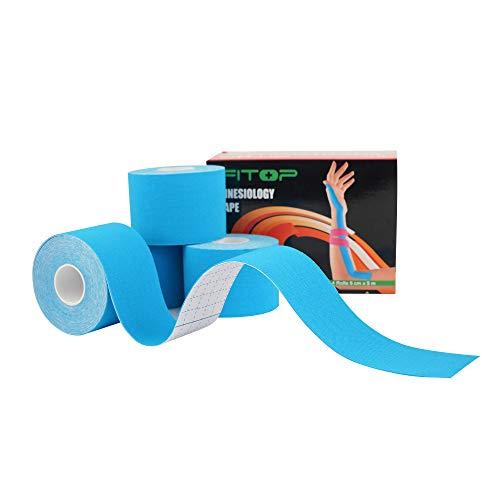 Tape Kinesiologico Nastro Fisioterapico non tagliato per lo sport e il recupero degli infortuni, neuromuscolare taping Ideale per il ginocchio, articolazioni, supporto muscolare (4 rotoli, blu)