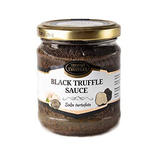Schwarze Trüffel Saucen, Black truffle sauce, Trüffelcreme, Sommertrüffel Tuber Aestivum und Champignons, Delikatesse für Feinschmecker, für Fleisch, gegrilltes Brot, Omeletts, Pasta, Risotto, Sushi