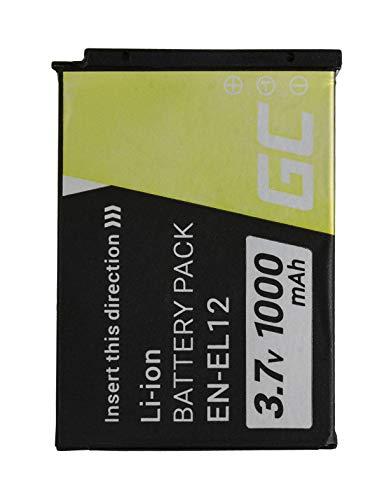 Green Cell® EN-EL12 ENEL12 Kamera-Akku für Nikon Coolpix A900 AW100 AW110 P300 S6000 S6150 S6300 S8000 S8100 S8200 S9200 S9500 S9600 S9700 S9900 W300, Full Decoded (1000mAh 3.7V Schwarz)