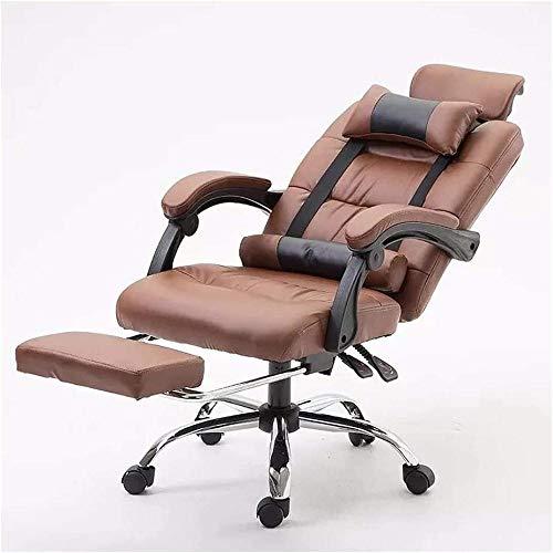 Gaming-Stuhl, ergonomischer Computer-Bürostuhl, Chefsessel, Rückenlehne, Lederstuhl, Liegestuhl braun