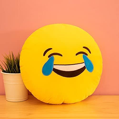 YHADX Cojín grande de emoticono de peluche, cojín de emoticono sonriente, cojín para dormir, 40 cm