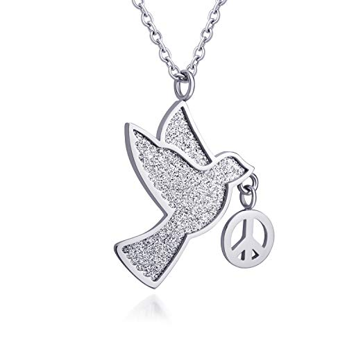 555Jewelry - Collar de acero inoxidable para mujeres y niñas Plateado