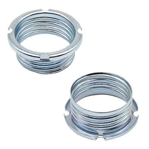 2 anillos roscados de 20,8 x 2 mm para portalámparas halógenas G9 / GY6,35 / GU4 / GU5,3, metal galvanizado, diámetro 27 x 11 mm