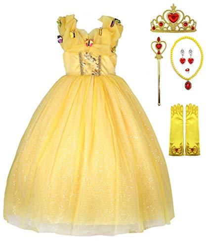 Fanessy Filles Princesse Belle Costume Robe de Soirée Les Enfants Belle et La Bête Cosplay Déguisement Partie Costumée Fête Anniversaire Halloween Carnaval S'habiller