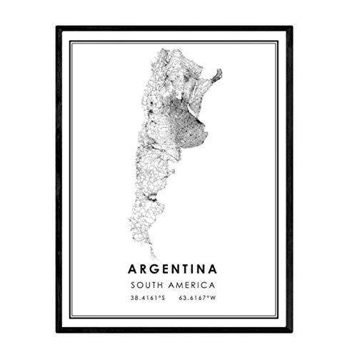 Cartel de impresión de mapa del país de Argentina, lienzo artístico, decoración de pared, lienzo artístico, decoración de pared para dormitorio, impresión en lienzo-50x70cm sin marco