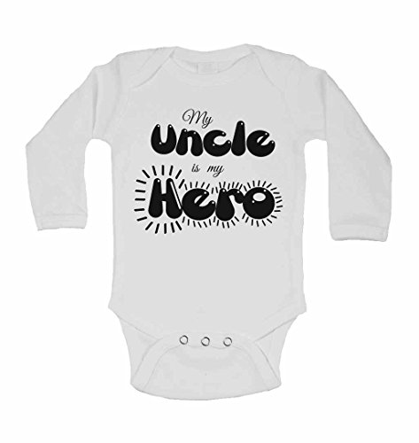 Mon Oncle est My Hero – personnalisé bébé à manches longues gilets bodies bébé SE Développe pour garçons, filles – Blanc – 2–3 ans