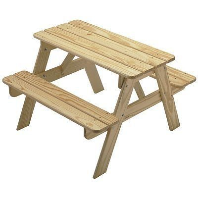 Best Kids Wooden Play Picnic Table- Solid Wood Sanded Unfinished- Choose Your Favorite Finish Color-...