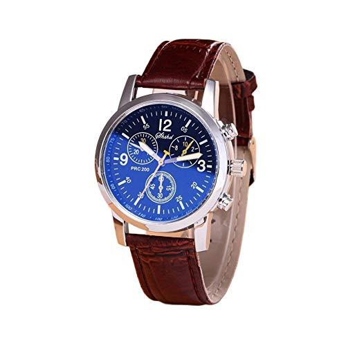 Reloj de pulsera de cuarzo con pantalla analógica para hombre con correa de cuero PU Reloj de pulsera deportivo informal para unisex