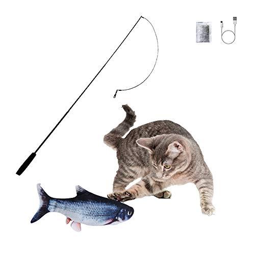 SOBW Flopping Fish - elektrisches Katzenspielzeug - Katzenminze - wiederaufladbar mit USB Kabel - Verschiedene Geschwindigkeitsstufen, mit Spielangel