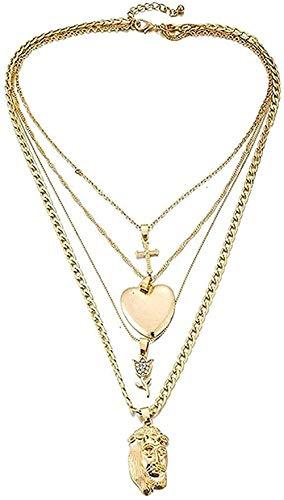 CCXXYANG Co.,ltd Collar Moda B Collar Collar Multicapa Cruz Gargantilla Collar Color Dorado Forma De Corazón con Colgante De Flor Rosa Collar para Mujer Regalo De Joyería