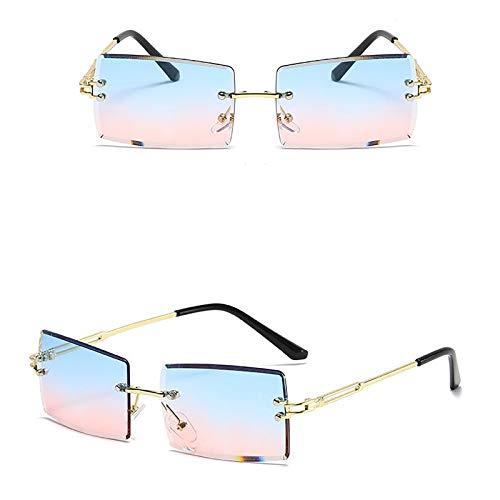 APCHY Gafas De Sol Rectangulares Vintage para Mujer Y Hombre Gafas Cuadradas Retro De Moda Gafas De Lentes Tintadas con Montura Sin Montura Protección UV400,1