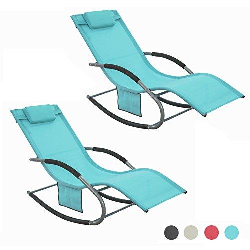 SoBuy 2xOGS28-HB Lot de 2 Fauteuils à Bascule Transats de Jardin avec Repose-Pieds, Bains de Soleil Rocking Chair - Turquoise