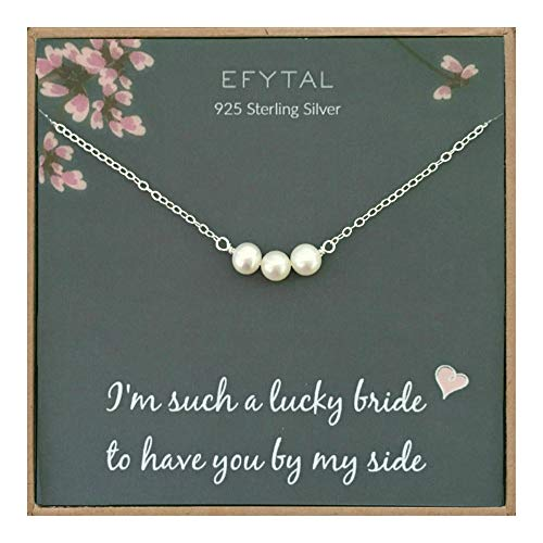 EFYTAL Bridesmaid Gifts, 925 Sterling Silver Cultured Freshwater Pearl Necklace for Bridesmaids, Bridal Party Gift from Bride, Wedding Pendant Jewelry for Women