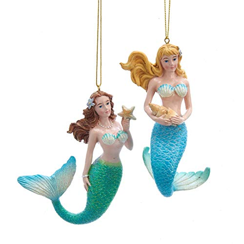 Kurt Adler Blue and Green Mermaids Christmas Holiday Ornaments 4.5 Inches Set of 2