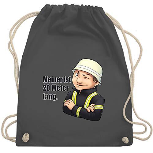 Shirtracer Feuerwehr - Feuerwehrmann - Meiner ist 20 Meter lang. - Unisize - Dunkelgrau - taschen aus feuerwehrschlauch - WM110 - Turnbeutel und Stoffbeutel aus Baumwolle