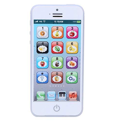 Juguete de teléfono de aprendizaje, pantalla táctil para niños, juguete móvil, máquina de educación temprana en inglés, música, teléfono ligero, juguete, regalo para niños(Blanco)