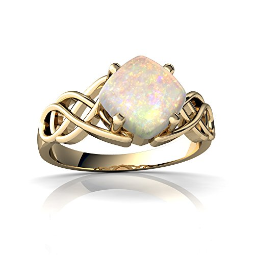 14kt Yellow Gold Opal 6mm Cushion Celtic Knot Ring - Size 9