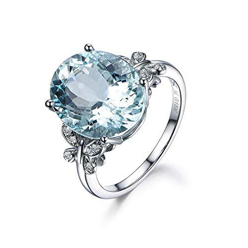 Fashion Ring 6 Carat Topaze Bleu Papillon Bague en Argent Sterling Ovale Bague de Fiançailles Bagues Pierres Précieuses Saphir Strass Bague pour Femmes de soirée de Mariage Bijoux