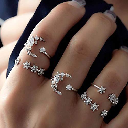 Runmi Juego de anillos vintage para nudillos de plata con cristales de luna y estrella, accesorios de joyería para mujeres y niñas (paquete de 5)