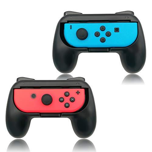FYOUNG Griffe Halterung Kompatibel mit Joy Con für Switch & OLED-Modell, Gummioberfläche Switch Joy Controller Grip Halter Zubehör - Schwarz (2 Pack)