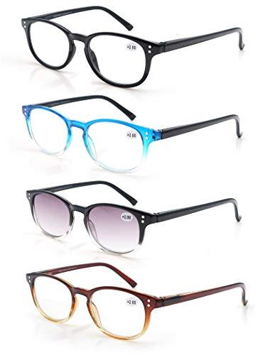 MODFANS Un Pack de 4 Gafas de Lectura 2.0/Gafas para Presbicia Hombre Mujer,Buena Vision Ligeras Comodas,Vista de Cerca/Vista Cansada