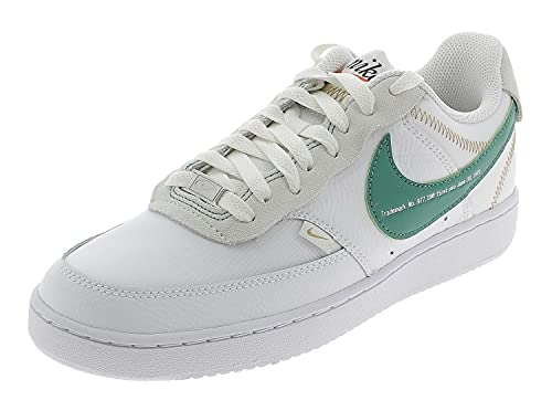 Nike Herren Court Vision Low Premium Sneaker, White/Green Noise-Summit White, 45.5 EU