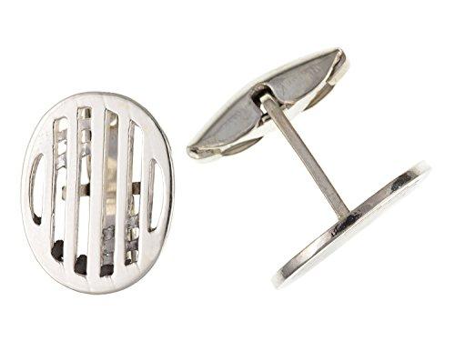 Rennie Mackintosh Style ovale Boutons de manchette – Argent Sterling 925 – Livré dans une boîte cadeau gratuit ou sac cadeau