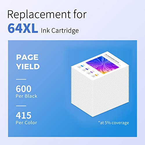 myCartridge SUPCOLOR Remanufactured Ink Cartridge Replacement for HP 64XL 64 XL 64 N9J91AN N9J92AN for Envy Photo 7155 6255 7164 6252 7120 6230 7158 6232 6258 6220 7130(Black, Tir-Color, 2-Pack)