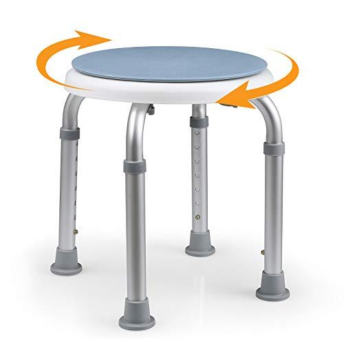 HAIRBY Sedia da Doccia, Sgabello da Bagno Regolabile in Altezza, Rotazione di 360 °, Sedia da Bagno e Sedia da Doccia