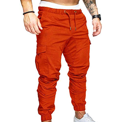 AchidistviQ Herren-Cargohose, Übergröße, einfarbig, mehrere Taschen, Kordelzug, Knöchelschnürung, Cargohose, Hose, Hip-Hop-Hose, legere Overalls XXL Orange