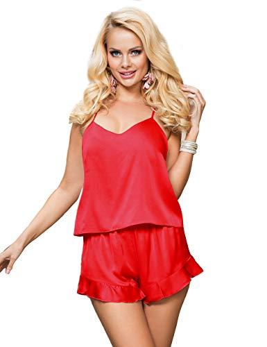 comeondear Conjunto de Pijama Seda Elegante para Mujer Pijama Satín Top sin Mangas y Pantalones Cortos(Rojo,3XL-4XL)