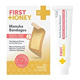 First Honey Manuka Honey Ointment + Honey Adhesive Bandages Bundle | Antibiotic Free Medical Grade | Burns, Cuts, Scrapes, Wound Care, Skin Irritation