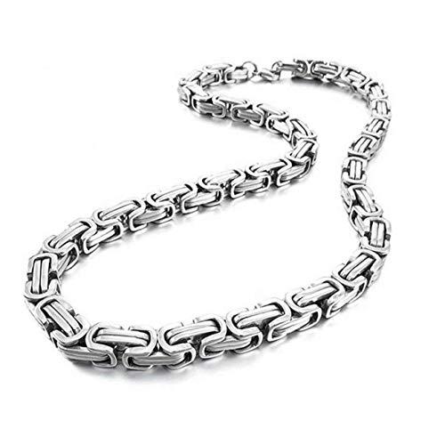 DINEGG Collar de Chapado bizantino Collar de Acero Inoxidable Larga clavícula Gargantilla joyería para Hombre QQQNE