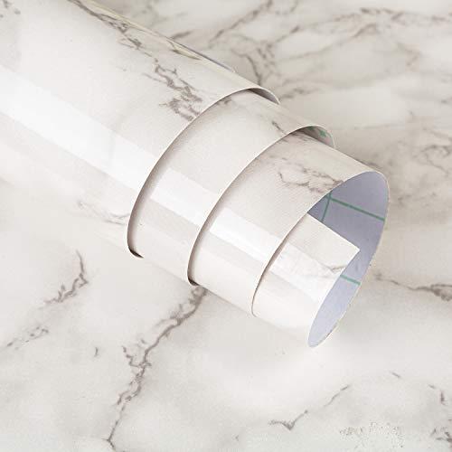 JSEVEM Papel pintado de mármol color blanco esmeralda color blanco y jade papel de contacto autoadhesivo autoadhesivo extraíble vinilo para pared para cocina encimera armario 40cm×3m