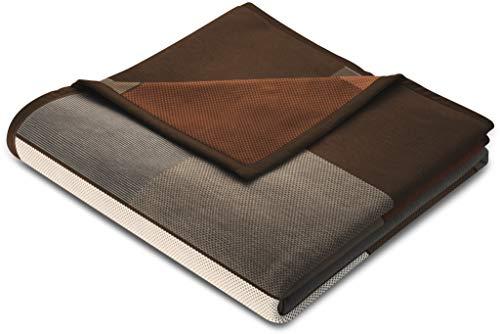 biederlack® flauschig-weiche Kuschel-Decke aus Baumwolle und dralon® I Made in Germany I Öko-Tex I nachhaltig produziert I Sofadecke Brown Squares in braun-beige kariert I Wohn-Decke 150x200 cm