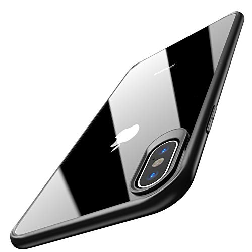 TOZO for iPhone Xs Max Case 6.5 Inch (2018) Hybrid Soft Grip Matte Finish Clear Back Panel Ultra-Thin [Slim Thin Fit] Cover for iPhone Xs Max (Black)