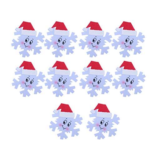 BESTOYARD 10 pezzi di Natale sottobicchieri Forma di fiocco di neve con decorazioni natalizie per il cappello di Natale