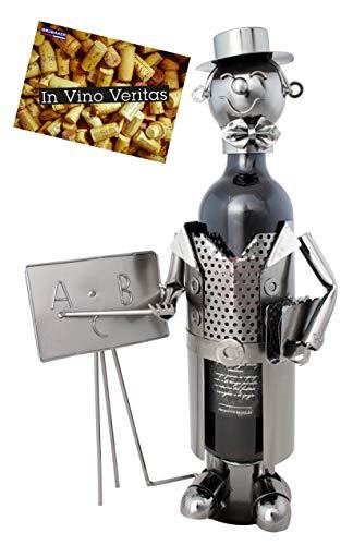 Brubaker Weinflaschenhalter Lehrer mit Tafel - Deko-Objekt Metall - Flaschenständer mit Grußkarte für Weingeschenk