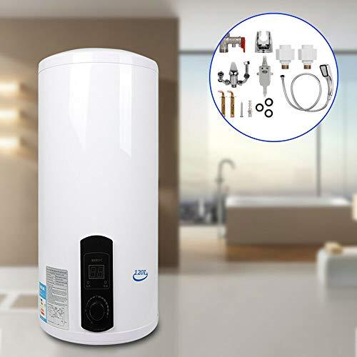 Berkalash 2KW Elektro Warmwasserspeicher Boiler mit Handbrause, Elektro Warmwasser Boiler, 30-75 ℃ Vertikal Warmwasserboiler, Elektrisches Warmwasserbereiter-Duschset (120L)