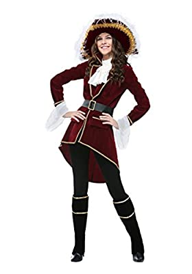 Captain Hook Pirate Halloween Costume for Women X-Large Red