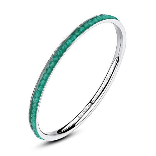 OKIKO Women Birthstone/Genuine Gemstone 925 Silver Faceted Round Beads Chakra Bangle Bracelet May Green Agate Agate Gemstone Bracelet Bangle